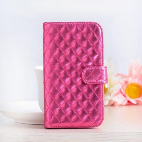 Luxury Metallic Book Style Skin Case Glitter Design Wallet Flip Cover for Phone