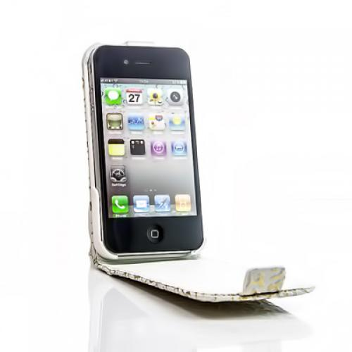 flip case handy tasche apple iphone 4 4s weiss gold schutz. Black Bedroom Furniture Sets. Home Design Ideas