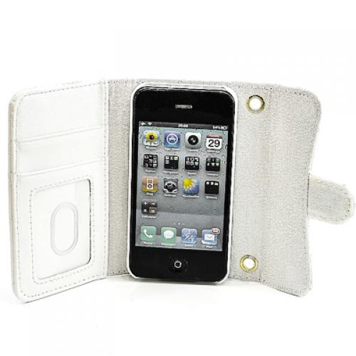 Apple iPhone 4 4G 4S Booksytle Handtasche Karo Weiss M102