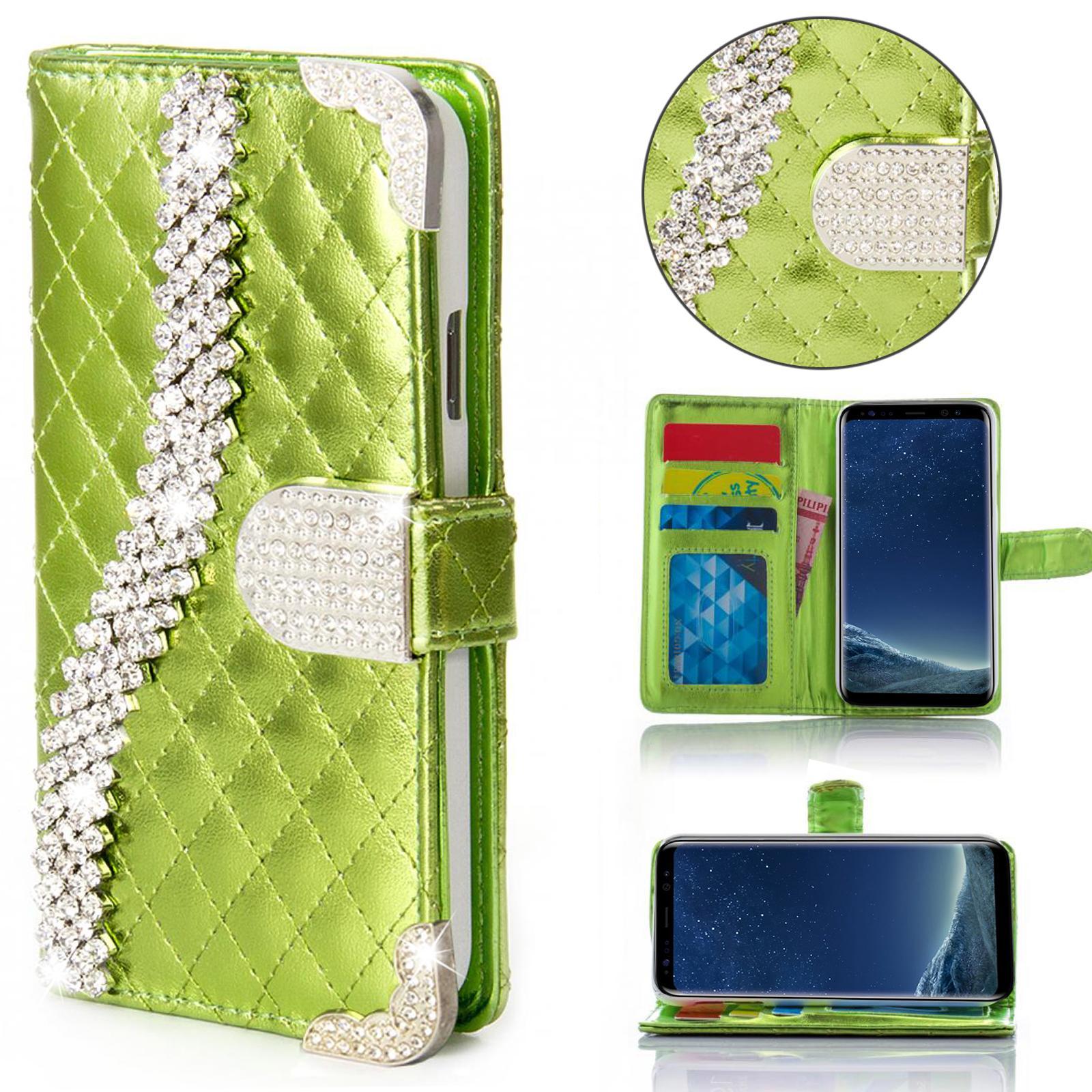 miniature 8 - Handy Tasche Strass für Samsung Galaxy Schutz Hülle Flip Cover Case Etui Wallet