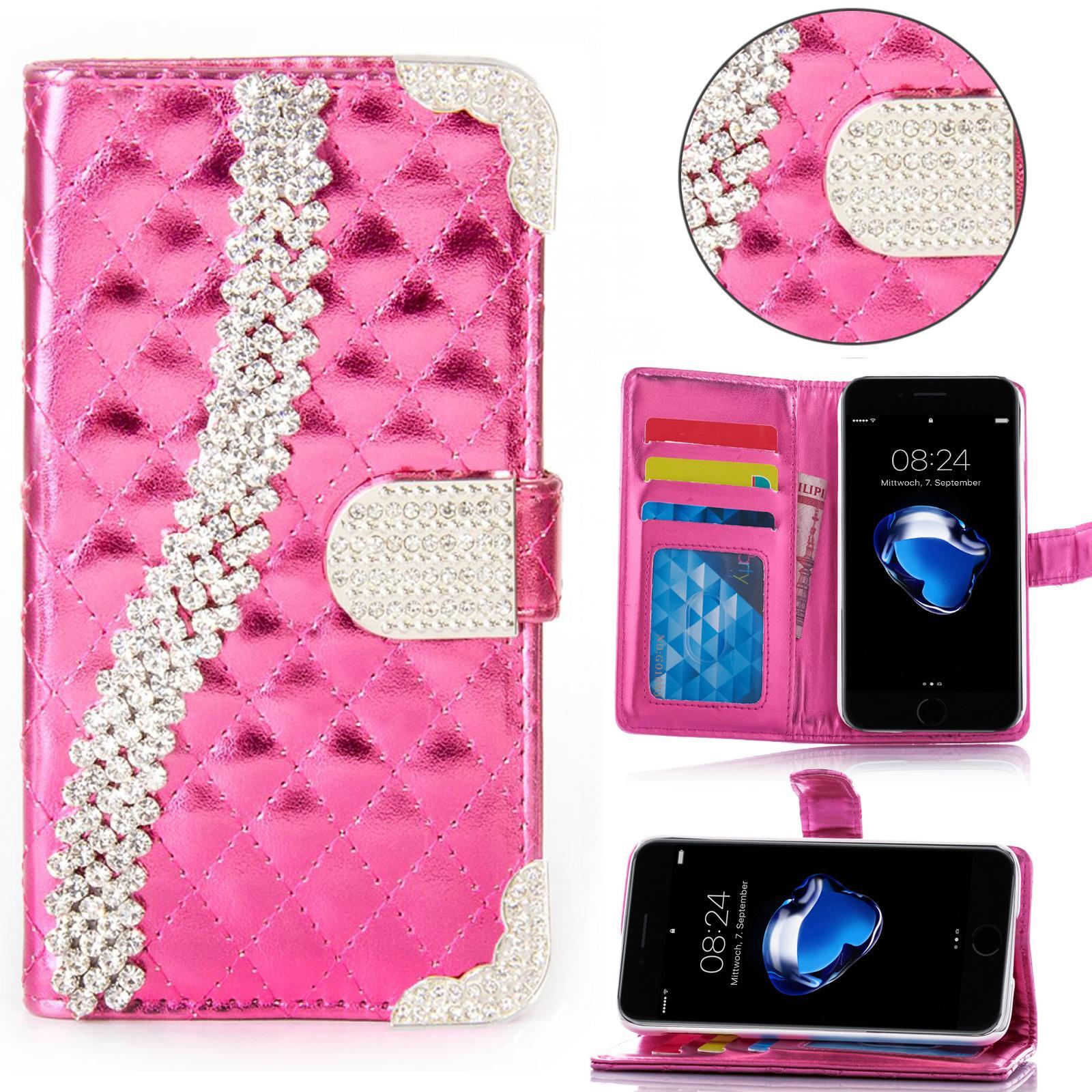 miniature 4 - Handy Tasche Strass für Samsung Galaxy Schutz Hülle Flip Cover Case Etui Wallet