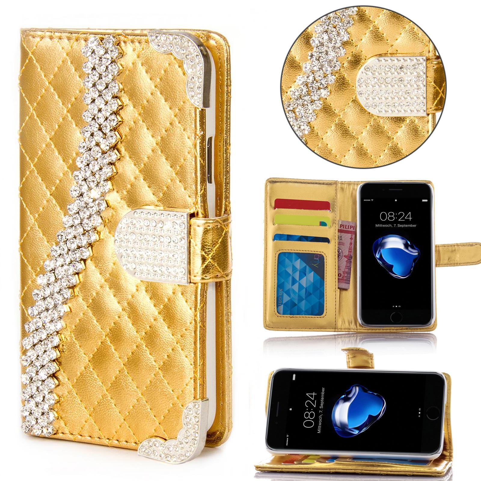 miniature 5 - Handy Tasche Strass für Samsung Galaxy Schutz Hülle Flip Cover Case Etui Wallet