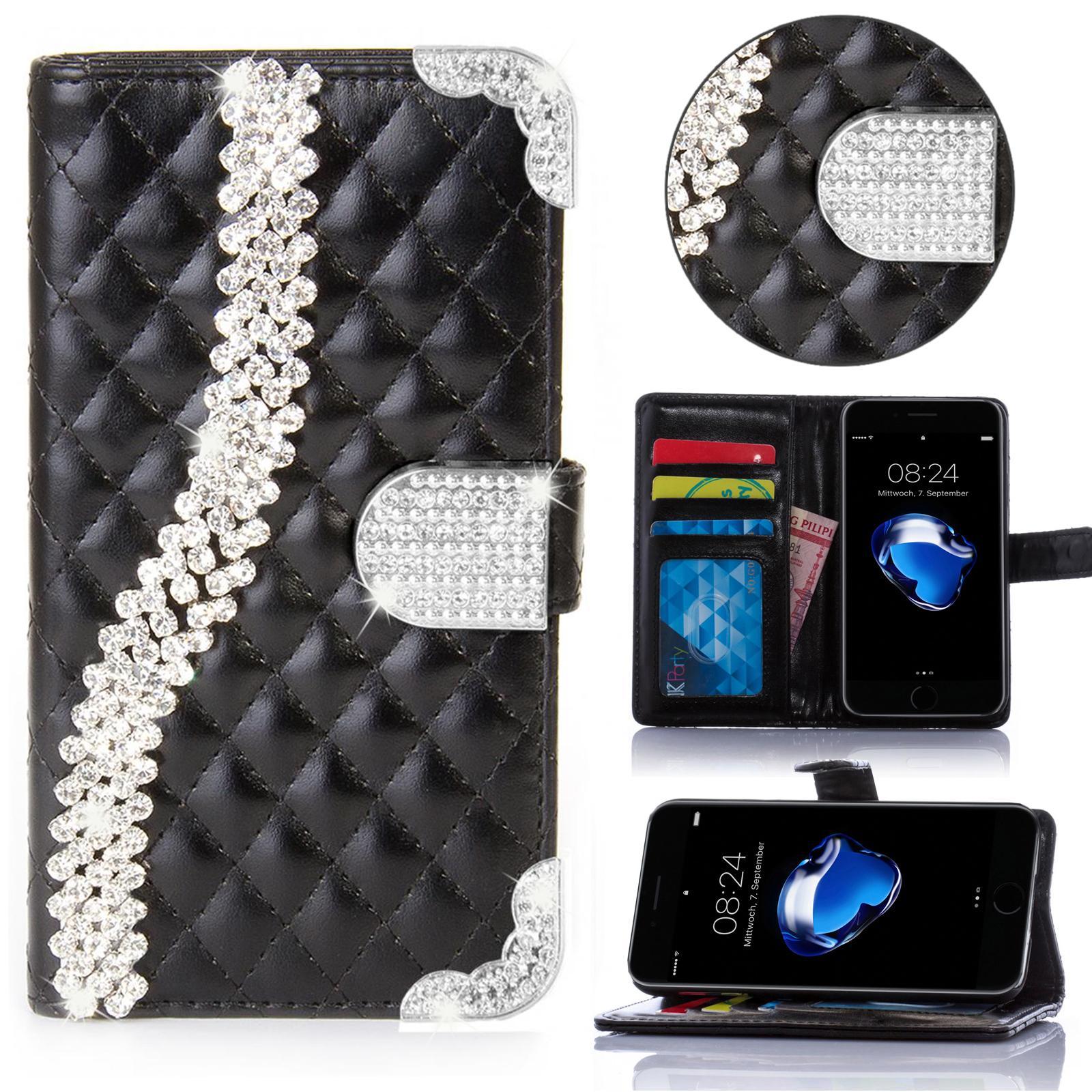 miniature 2 - Handy Tasche Strass für Samsung Galaxy Schutz Hülle Flip Cover Case Etui Wallet