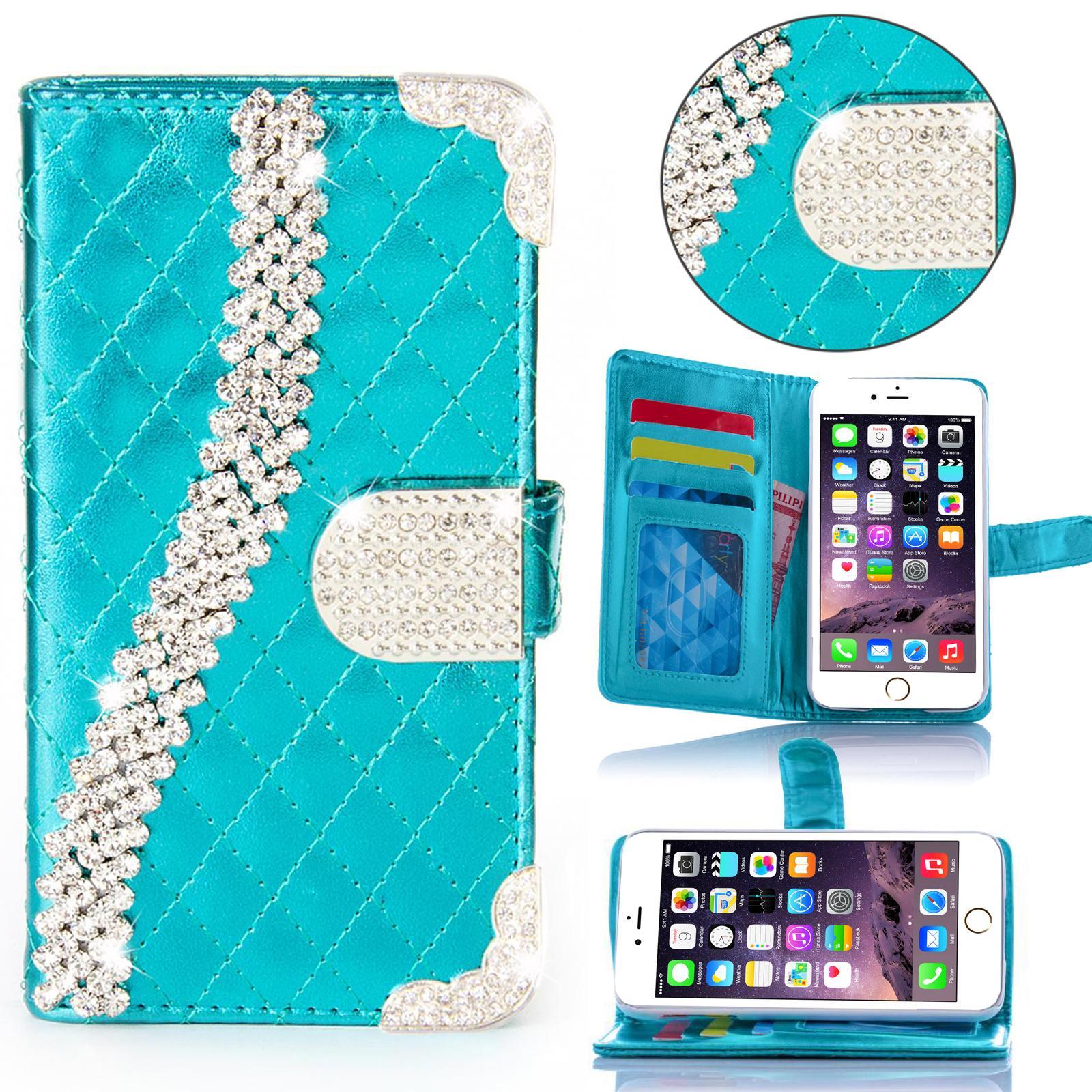 miniature 7 - Handy Tasche Strass für Samsung Galaxy Schutz Hülle Flip Cover Case Etui Wallet